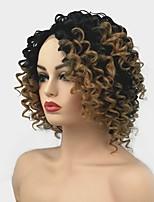 Недорогие -Синтетические кружевные передние парики Кудрявый Средняя часть Искусственные волосы Волосы с окрашиванием омбре / Для темнокожих женщин Светло-коричневый Парик Жен. Средняя длина Лента спереди