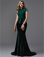 cheap -Mermaid / Trumpet High Neck Court Train Lace / Velvet Formal Evening Dress with Beading by TS Couture® / Sparkle & Shine