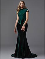 baratos -Sereia Gola Alta Cauda Corte Renda / Veludo Evento Formal Vestido com Miçangas de TS Couture® / Brilho & Glitter