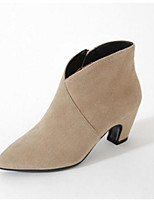 abordables -Femme Chaussures Croûte de Cuir Automne Botillons Bottes Talon Bottier Noir / Orange / Beige