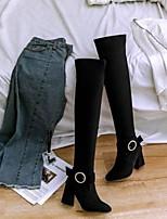 baratos -Mulheres Sapatos Camurça Primavera Verão Chanel / Botas da Moda Botas Salto Robusto Dedo Fechado Botas Acima do Joelho Preto