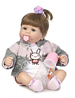 cheap -NPKCOLLECTION Reborn Doll Baby Girl 18 inch Vinyl - lifelike, Artificial Implantation Blue Eyes Kid's Girls' Gift