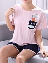 abordables -Col en U Costumes Pyjamas Femme Fleur