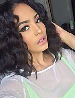 cheap -Remy Human Hair Lace Front Wig Wig Brazilian Hair Wavy Bob Haircut / Short Bob 130% Density Silky / Natural / Natural Hairline Natural Women's Short Human Hair Lace Wig