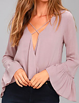 cheap -Women's Basic / Street chic Blouse - Solid Colored Criss-Cross