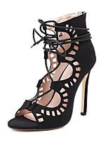 Недорогие -Жен. Обувь Замша Лето Удобная обувь Обувь на каблуках На шпильке Черный / Миндальный