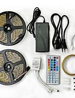 abordables -2x5M Ensemble de Luminaires / Barrette d'Eclairage RVB / Télécommandes 600 LED SMD5050 1 adaptateur 12V 6A / 1 44Keys Télécommande RVB / RGB + Blanc Découpable / Imperméable / Décorative 100-240 V