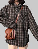 abordables -Mujer Acordonado Camisa Cuadrícula