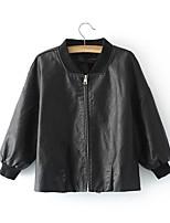 abordables -veste en cuir pour femme - couleur unie