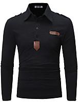 Недорогие -Муж. Polo Хлопок, Рубашечный воротник Однотонный / Пожалуйста, выбирайте изделие на размер больше вашего обычного размера / Длинный рукав