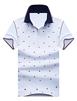 cheap -Men's Cotton Polo - Geometric Shirt Collar / Please choose one size larger according to your normal size. / Short Sleeve