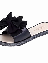 cheap -Women's Shoes PU(Polyurethane) Summer Slingback Slippers & Flip-Flops Flat Heel Bowknot Black / Beige