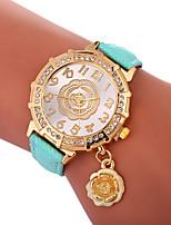 baratos -Xu™ Mulheres Relógio Elegante / Relógio de Pulso Chinês Criativo / Relógio Casual / Adorável PU Banda Flor / Fashion Preta / Branco / Azul / imitação de diamante / Mostrador Grande / Um ano