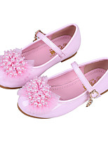 cheap -Girls' Shoes PU(Polyurethane) Spring / Fall Flower Girl Shoes Flats Bowknot / Buckle for Kids White / Pink / Party & Evening