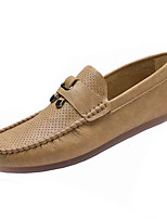 cheap -Men's Shoes Sheepskin Spring / Fall Moccasin Loafers & Slip-Ons White / Black / Khaki