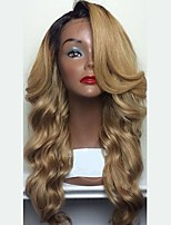cheap -Remy Human Hair Lace Front Wig Wig Brazilian Hair / Body Wave Wavy Layered Haircut / Side Part 150% Density With Baby Hair / Ombre Hair / Natural Hairline Blonde Women's Short / Long / Mid Length
