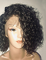 cheap -Remy Human Hair Lace Front Wig Wig Brazilian Hair Curly Bob Haircut / Short Bob 150% Density With Baby Hair / Side Part Black Women's Short Human Hair Lace Wig