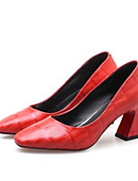 cheap -Women's Shoes Nappa Leather Summer Comfort Heels Chunky Heel Closed Toe Black / Red