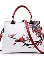cheap -Women's Bags PU(Polyurethane) Tote Pattern / Print / Zipper Black / Red / Blushing Pink