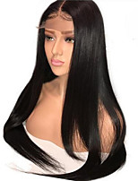 cheap -Remy Human Hair Lace Front Wig Wig Brazilian Hair / Other Straight With Ponytail 130% Density With Baby Hair / Natural Hairline / With Bleached Knots Natural / Black Women's Long Human Hair Lace Wig