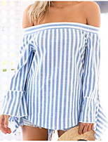 cheap -Women's Basic T-shirt - Striped Backless / Patchwork