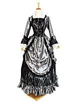 cheap -Gothic Lolita Costume Women's Outfits / Party Costume Black+Sliver Vintage Cosplay Flocked 3/4-Length Sleeve Puff Sleeve