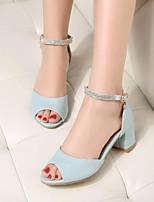 cheap -Women's Shoes PU(Polyurethane) Summer Comfort Heels Chunky Heel White / Blue / Pink