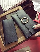 cheap -Women's Bags PU(Polyurethane) Wallet 2 Pieces Purse Set Buttons Black / Blushing Pink / Gray
