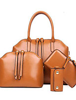 cheap -Women's Bags PU(Polyurethane) Bag Set 4 Pieces Purse Set / 5 Pieces Purse Set Rivet / Zipper Black / Brown / Wine