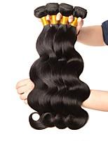 Недорогие -4 Связки Бразильские волосы Волнистый Натуральные волосы Человека ткет Волосы / Удлинитель 8-28 дюймовый Ткет человеческих волос Машинное плетение Новое поступление / 100% девственница