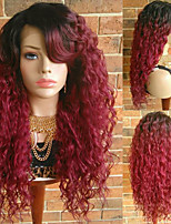 cheap -Synthetic Lace Front Wig Curly Burgundy Layered Haircut Synthetic Hair With Baby Hair / Heat Resistant / Ombre Hair Burgundy Wig Women's Long Lace Front / African American Wig / Yes
