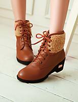 cheap -Women's Shoes PU(Polyurethane) Winter Comfort Boots Chunky Heel Black / Beige / Brown