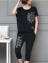 cheap -Women's Plus Size Active Batwing Sleeve Loose Set - Geometric, Print Pant