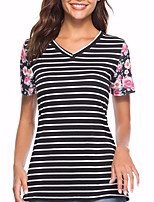 cheap -Women's Basic / Street chic T-shirt - Striped / Color Block Patchwork