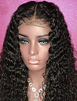 cheap -Remy Human Hair Lace Front Wig Brazilian Hair / Deep Wave Curly Wig With Ponytail 130% With Baby Hair / Natural Hairline / With Bleached Knots Natural / Black Women's Long Human Hair Lace Wig