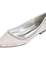 cheap -Women's Shoes Lace Spring Comfort / Ballerina Wedding Shoes Flat Heel Pointed Toe Rhinestone / Crystal / Sparkling Glitter Silver / Champagne / Ivory / Party & Evening