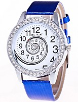 cheap -Women's Wrist Watch Chinese Chronograph / Lovely / Large Dial Leather Band Bangle / Elegant Black / White / Blue