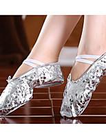 abordables -Fille Chaussures de Ballet Faux Cuir Plate Talon transparent plaqué or Personnalisables Chaussures de danse Or / Argent