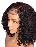 cheap -Remy Human Hair Lace Front Wig Wig Brazilian Hair / Water Wave Curly Bob Haircut / Deep Parting 150% Density With Baby Hair / Natural Hairline / With Bleached Knots Natural / Black Women's 8-14 Human