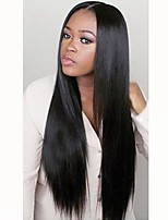cheap -Remy Human Hair Full Lace Wig Peruvian Hair Straight Layered Haircut 130% Density Natural Hairline / 100% Hand Tied Black Women's Long Human Hair Lace Wig
