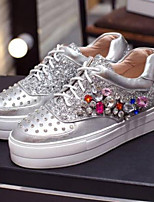 cheap -Women's Shoes Nappa Leather Summer Comfort Sneakers Creepers Closed Toe Rhinestone White / Silver