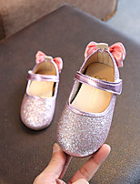 cheap -Girls' Shoes PU(Polyurethane) Spring & Summer Comfort / Flower Girl Shoes Flats Walking Shoes Bowknot / Sequin for Kids Gold / Silver / Pink