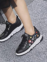 cheap -Women's Shoes Nappa Leather Summer Comfort Sneakers Flat Heel Closed Toe White / Black