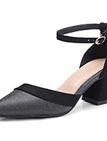 cheap -Women's Shoes PU(Polyurethane) Spring & Summer Basic Pump Heels Chunky Heel Pointed Toe Black / Almond