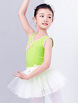 abordables -Danse classique Tenue Fille Entraînement / Utilisation Coton Noeud en satin / Dentelle Sans Manches Taille moyenne Jupes / Collant / Combinaison