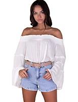 abordables -Mujer Playa Algodón Camiseta, Escote Barco Corte Ancho Un Color
