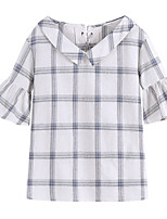 cheap -Women's Going out T-shirt - Color Block / Check V Neck