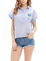 cheap -Women's Basic Blouse - Striped / Color Block Patchwork