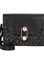 cheap -Women's Bags PU Leather Shoulder Bag Sequin / Buttons Black / Brown / Silver