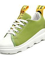 Недорогие -Жен. Обувь Полотно / Полиуретан Весна лето Удобная обувь Кеды На плоской подошве Круглый носок Черный / Желтый / Зеленый / Лозунг